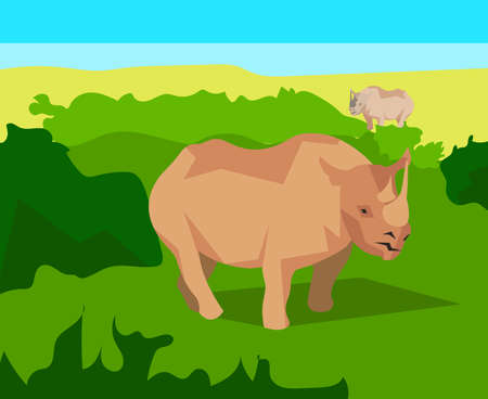 uncultivated: Rhino in the field with green grass on a background of bushes, clear blue sky. Animals and nature. In flat polygon style for design applications and sites. Vector illustration
