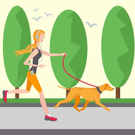 footing: Running girl in headphones with a player and a dog. On the background of trees and birds. It can be used for advertising a healthy lifestyle and the environment. Vector Illustration