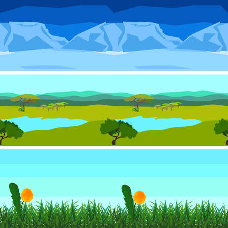 scroller: Set of different colorful landscapes, background horizontal pattern seamless. In flat polygon style for design applications and sites. Nature. Vector illustration