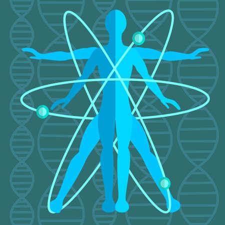 el atomo: Hombre perfecto dentro de un átomo con la estructura atómica, la genética en el fondo que consiste en filamentos de ADN. Medicina, ciencia. Ilustración vectorial