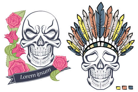 Isolated skull in old school style, with roses and ethnic headdress with feathers. Vector illustration