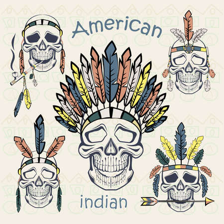 peace pipe: Indians ethnic set skulls with different headdresses, tube, an arrow on a light background with ethnic ornament. Vector illustration Illustration