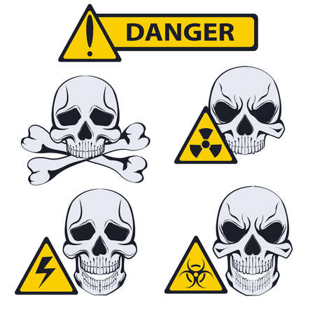 cautionary: Signs isolated of danger. Set of cautionary signs with monochrome skulls in a stencil style. It can be used for design warning labels. Vector illustration