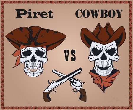 confrontation: Confrontation pirate against cowboy, two the crossed pistols, hats. It can be used for posters. Vector Illustration