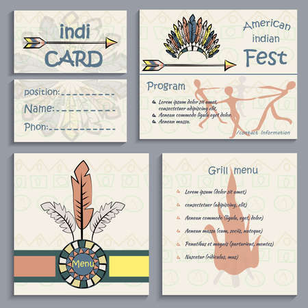 cherokee: Set of ethnic Indian corporate identity, business cards, flyers menu, can be used to design the corporate identity thematic institutions. Vector illustration