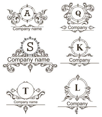 jewelry: Set Luxury icons template flourishes calligraphy elegant ornament lines. Business sign can be used  for Restaurant, Boutique, Hotel, Jewelry, Fashion and other. Vector illustration