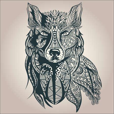 tribales: Depredador ornamental vendimia lobo, tatuaje blanco y negro, estilo decorativo retro. Ilustración vectorial aislado