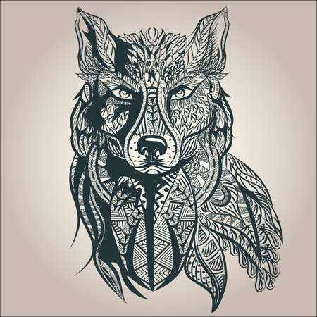 Ornamental vintage wolf predator, black and white tattoo, decorative retro style. Isolated vector illustration