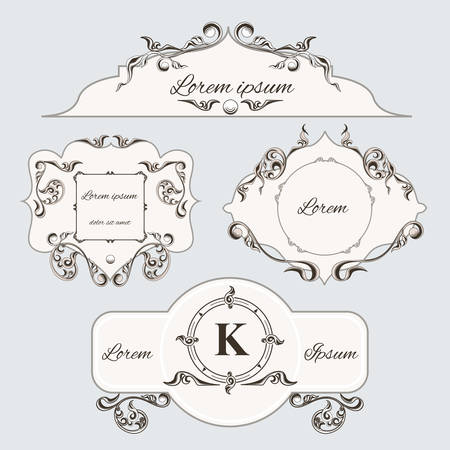 royal wedding: Set of vintage ornament frame and labels, with pattern in the Victorian style. Can be used to print design. Vector illustrator Illustration