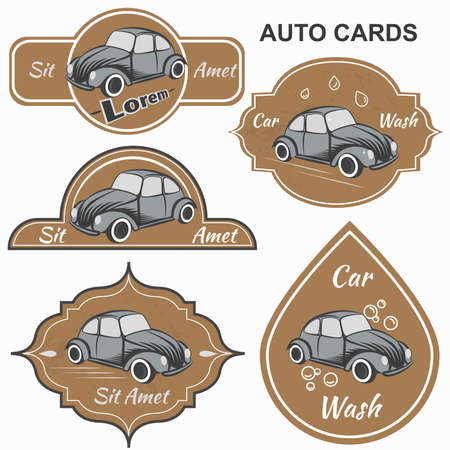 motorists: Set of vintage cards for motorists club and car washes, It can be used for printing and web design. Vector illustration
