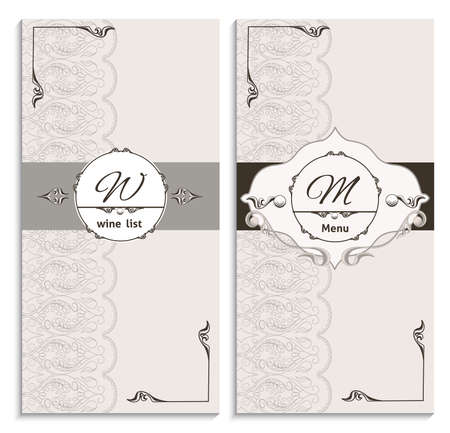catalog: Set vintage ornament list menu, with a pattern in the Baroque style. It can be used to print design for restaurants. Vector illustration
