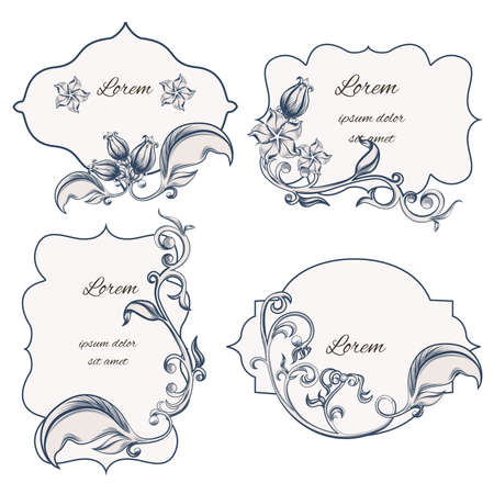 used ornament: Set of floral ornament frame and labels, with a pattern in the Baroque style. It can be used for letterpress. Vector illustrator