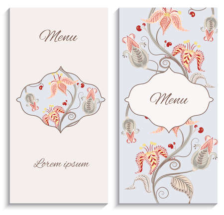 ornament menu: Color floral vintage ornament menu, with a pattern in the Baroque style. It can be used to print design for restaurants. Vector illustration Illustration