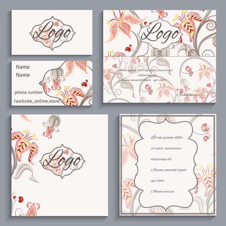 be the identity: Set of corporate ornament identity, business cards, flyers, menu or catalog with frame Victorian style. It can be used to print design for restaurants. Vector illustration Illustration