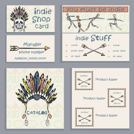 be the identity: Set of ethnic Indian business cards, flyers menu, can be used to design the corporate identity thematic institutions. Vector illustration