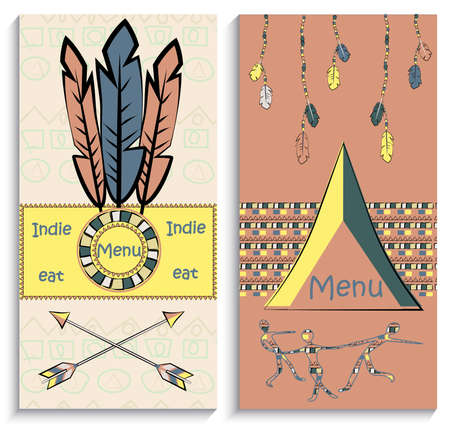 be the identity: Set of ethnic Indian  flyers, menu, can be used to design the corporate identity thematic institutions. Vector illustration