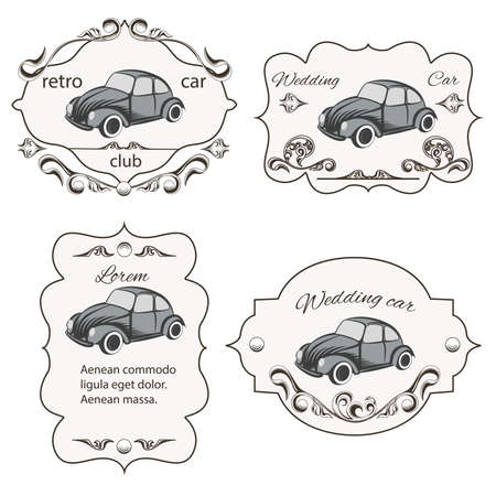 motorists: Set of vintage cards car washes, It can be used for printing and web design. Vector illustration