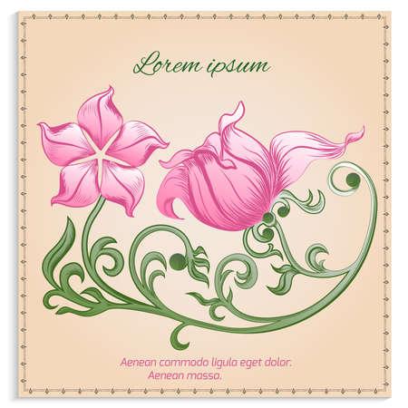 gentle background: Vintage card with pink flowers in ornamental frame on a gentle background. Vector illustration. Illustration