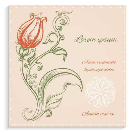 gentle background: Retro card with red flowers in ornamental frame on a gentle background. Vector illustration.