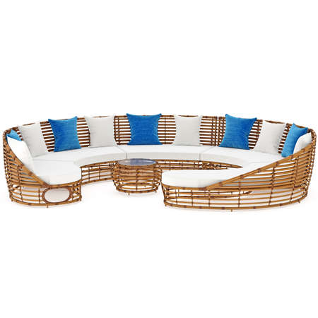 cane sofa: Rattan sofa, front view. 3D graphic object on white background isolated