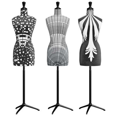 Womens classic mannequins on a metal tripod, front view. 3D graphic object on white background isolated