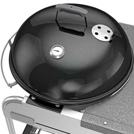 zoomed: Heat-resistant pot with a thermometer temperature control, zoomed view. 3D graphic object on white background