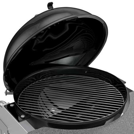 zoomed: Charcoal Grill with folding metal lid for roasting, zoomed view. 3D graphic object on white background