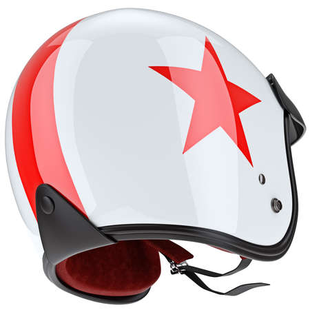 plating: Sports helmet mount and some of the elements chromium plating. 3D graphic object on white background isolated