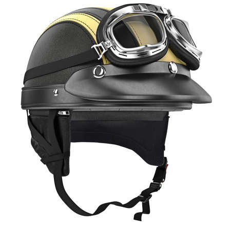 rubber lining: Leather motorcycle helmet and goggles retro style. 3D graphic object on white background isolated