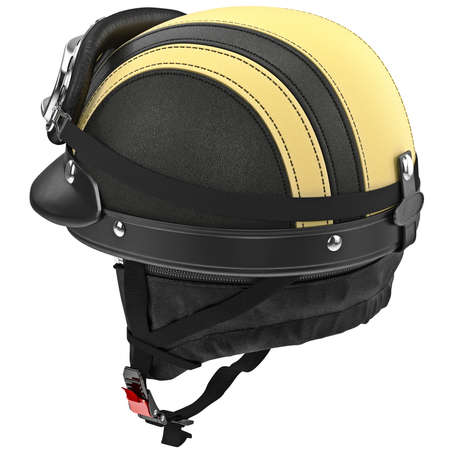 rubber lining: Leather protective ears for motorcycle helmet with goggles. 3D graphic object on white background isolated