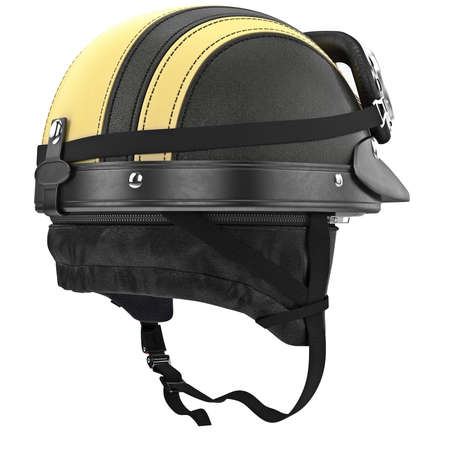 rubber lining: Motorcycle helmet with yellow stripes and ears. 3D graphic object on white background isolated
