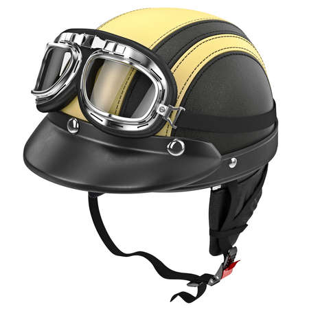 rubber lining: Black leather motorcycle helmet with goggles retro style. 3D graphic object on white background isolated Stock Photo