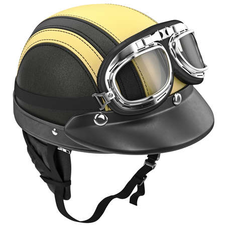 Motorcycle helmet with protective ear of points. 3D graphic object on white background isolated