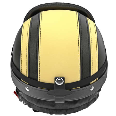 rubber lining: Biker motorcycle helmet with yellow stripes and ear protection. 3D graphic object on white background isolated Stock Photo