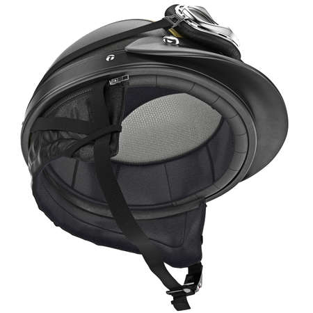rubber lining: Internal filling of the leather motorcycle helmet with protective ear. 3D graphic object on white background isolated