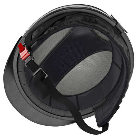 rubber lining: Inner stripe biker helmet with protective goggles and ear. 3D graphic object on white background isolated