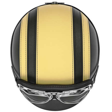 rubber lining: Motorcycle helmet with yellow stripes and sunglasses top view. 3D graphic object on white background isolated Stock Photo