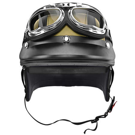 Biker motorcycle helmet with goggles and protective ears, front view. 3D graphic object on white background isolated Фото со стока