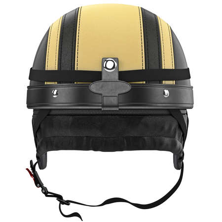 rubber lining: Motorcycle helmets with chrome studs and protective ear, back view. 3D graphic object on white background isolated Stock Photo