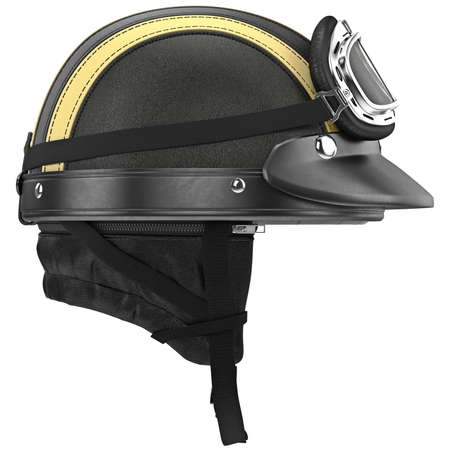rubber lining: Leather motorcycle helmet with goggles and ear, side view. 3D graphic object on white background isolated