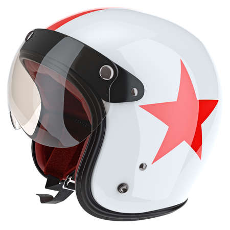 sport object: White sport motorcycle helmet with red star. 3D graphic object on white background isolated Stock Photo