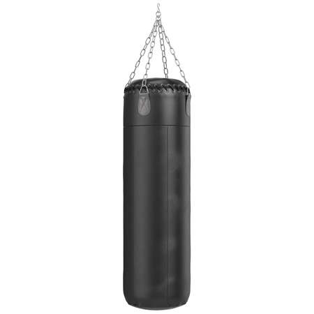 hang body: Big leather black punching bag. 3D graphic object on white background isolated Stock Photo
