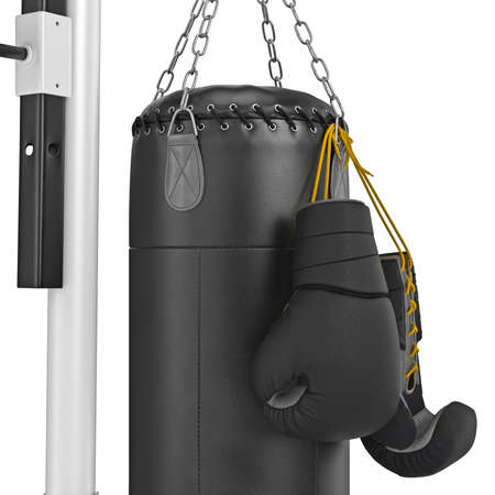 punching bag: Boxing gloves hanging on punching bag, zoomed view. 3D graphic object on white background