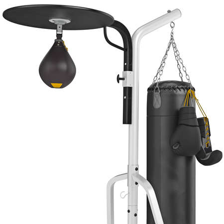 punching bag: Set leather punching bag with gloves, close view. 3D graphic object on white background Stock Photo