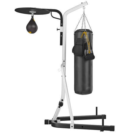 punching bag: Set punching bag, side view. 3D graphic object on white background isolated