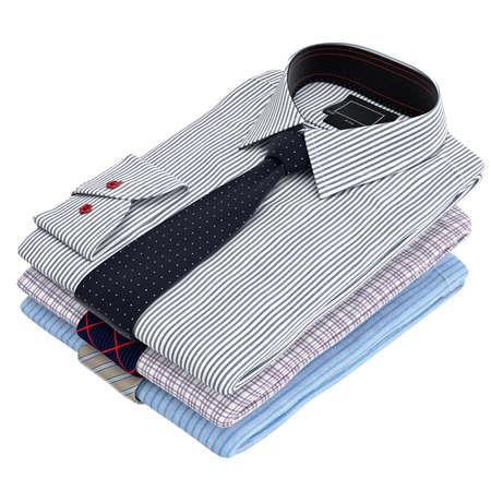 drycleaning: Classic colored mens shirts and ties. 3D graphic object on white background isolated