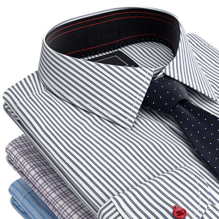 drycleaning: Classical shirt, view of the collar with tie. 3D graphic object on white background