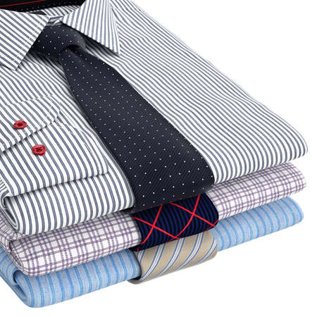 Classic mens shirts and ties folded, zoomed view. 3D graphic object on white background Stock Photo
