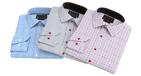 drycleaning: Set classic mens shirts. 3D graphic object on white background isolated