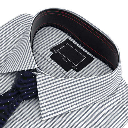 collar shirt: Classic collar shirt with tie. 3D graphic object on white background
